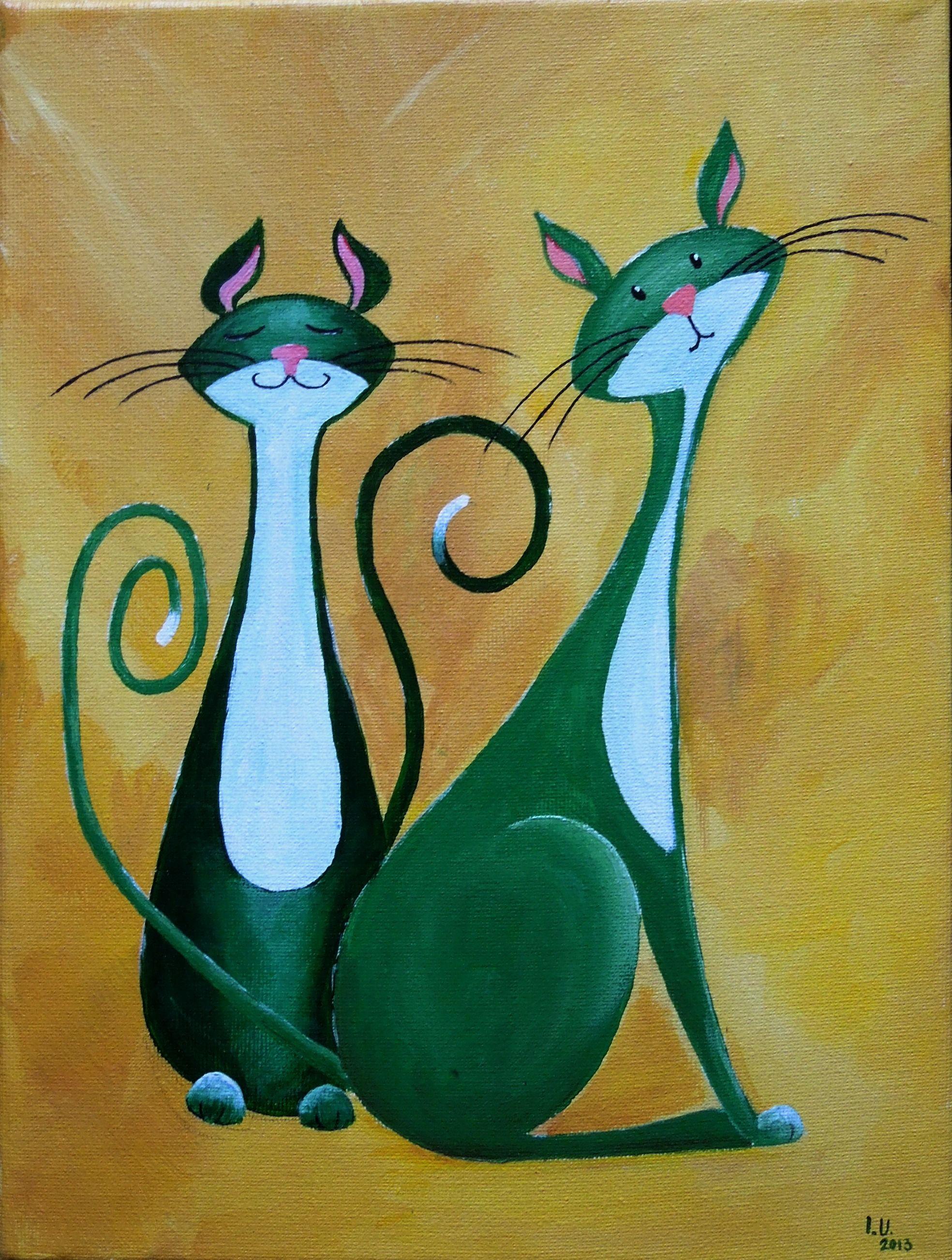 Fantasy Cats Painting Happy Couple Cat Painting Cat Art Illustration Art