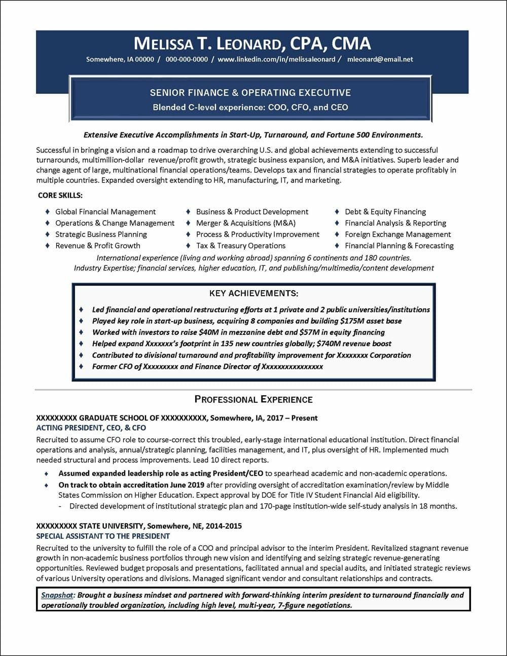 Finance And Operating Executive Resume Distinctive Career Services Executive Resume Resume Examples Professional Resume Examples