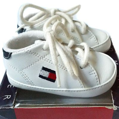 775e317615d6e2 TOMMY HILFIGER CRIB SHOES INFANT BABY BOY OR GIRL LACE TIE WHITE WITH LOGO  Adorable designer baby shoes!!  adorabke  TommyHilfiger  baby  babyshoes   shop