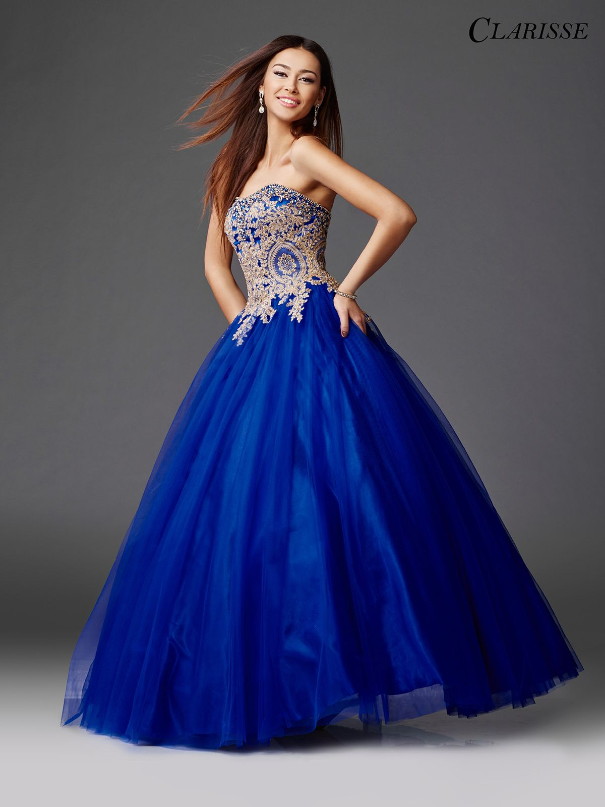 Gold and Royal Ball Gown 3508   BLUE PROM DRESSES   Pinterest   Ball ...