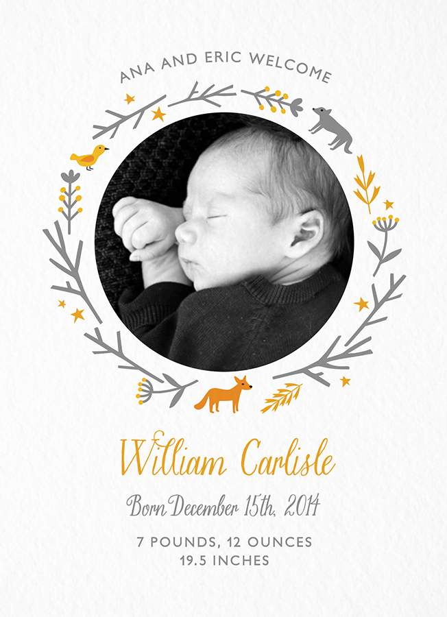 Woodland Birth Announcement Postable Baby Announcement Cards Birth Announcement Boy Baby Boy Announcement