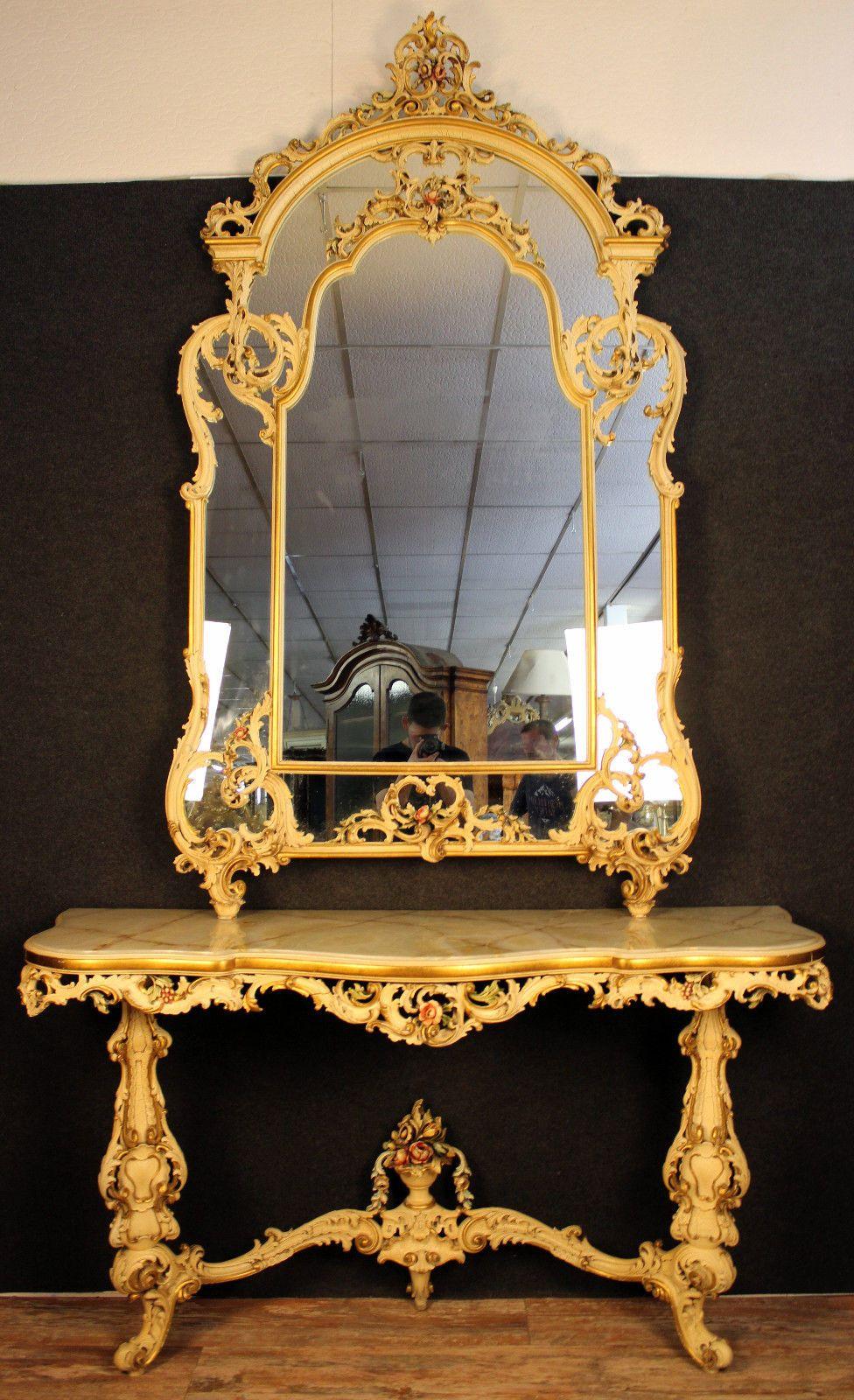 Museale Et Tres Importante Console Louis Xv Venitienne Laquee Avec Son Miroir Ebay Miroir Mural Miroir Console
