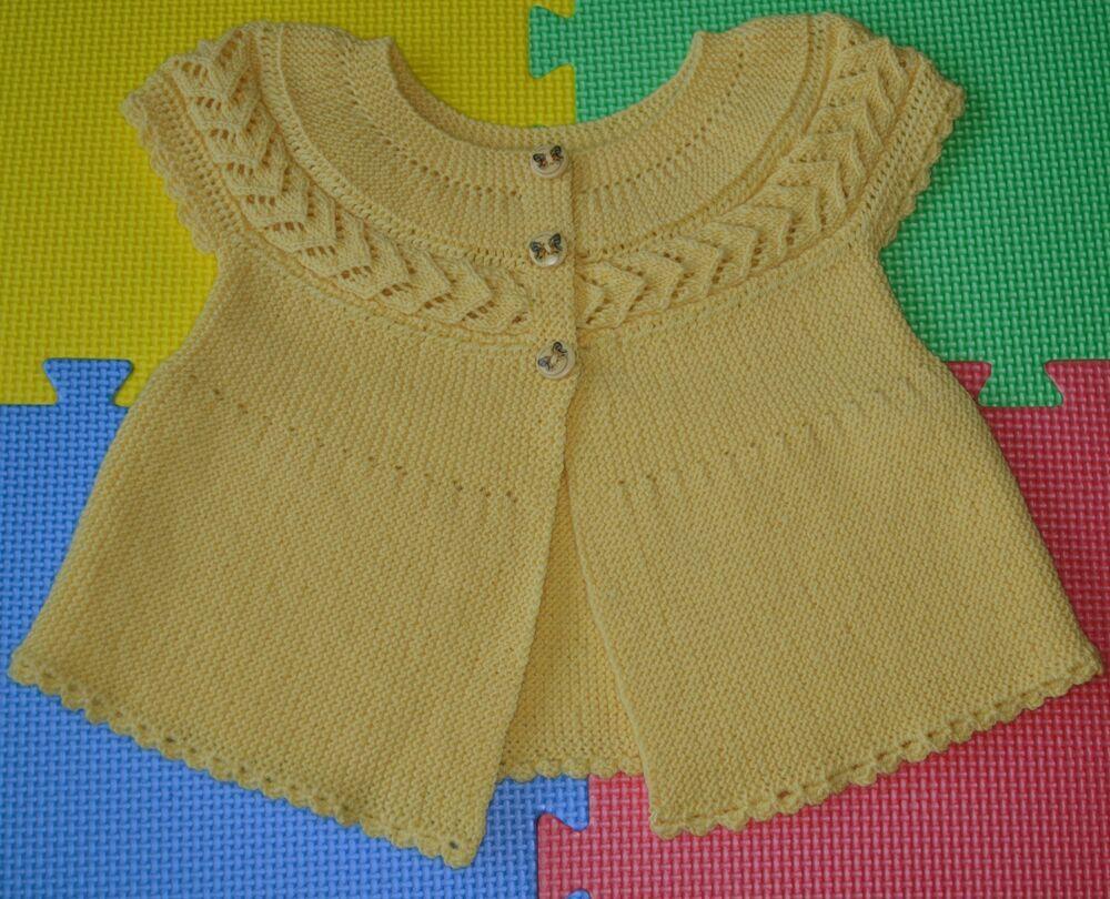 f228e12fba36 Hand Knitted Yellow Baby Girl Cardigan 100% Merino Wool 24 months ...