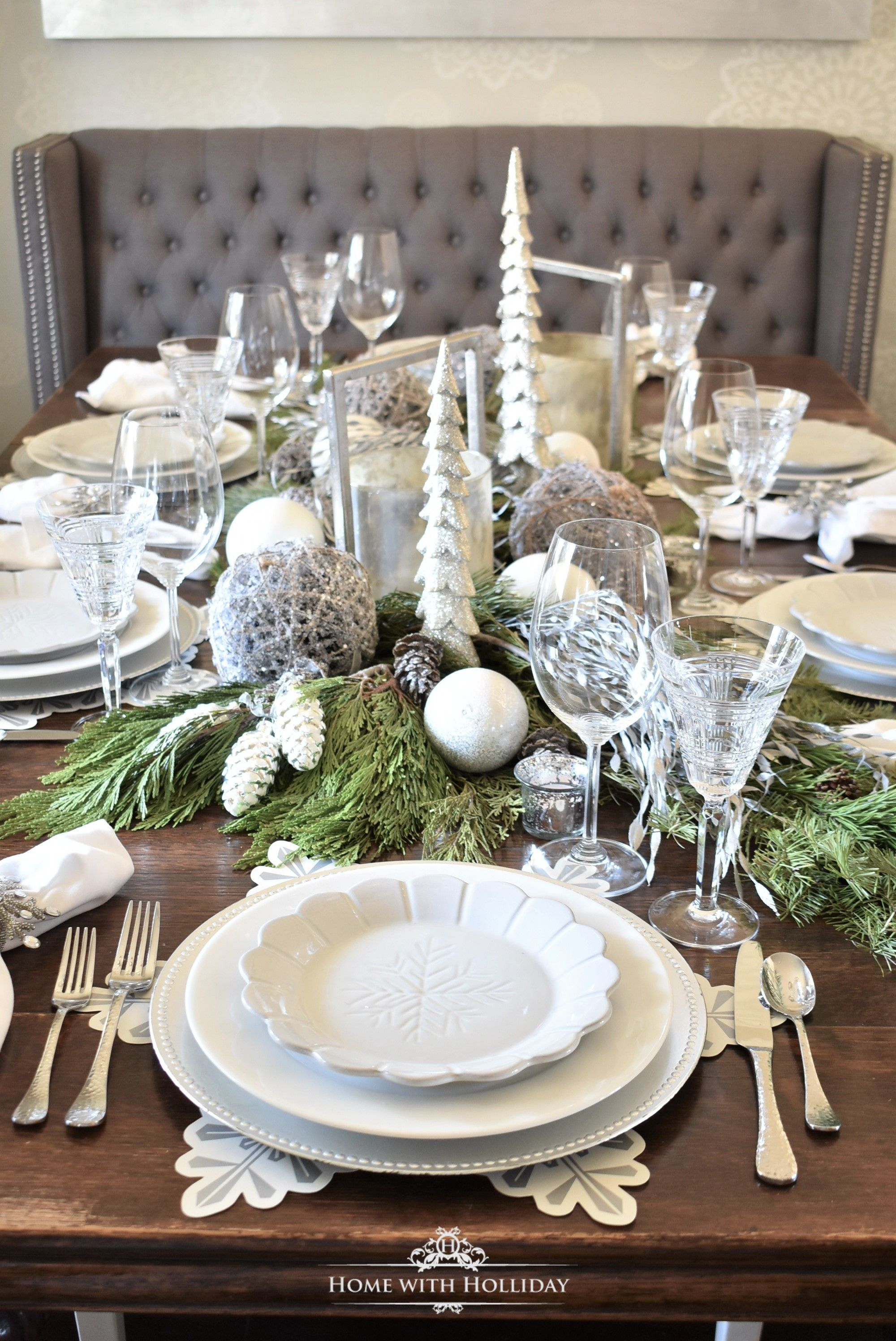 Winter White Snowflake Christmas Table Setting Holiday Table