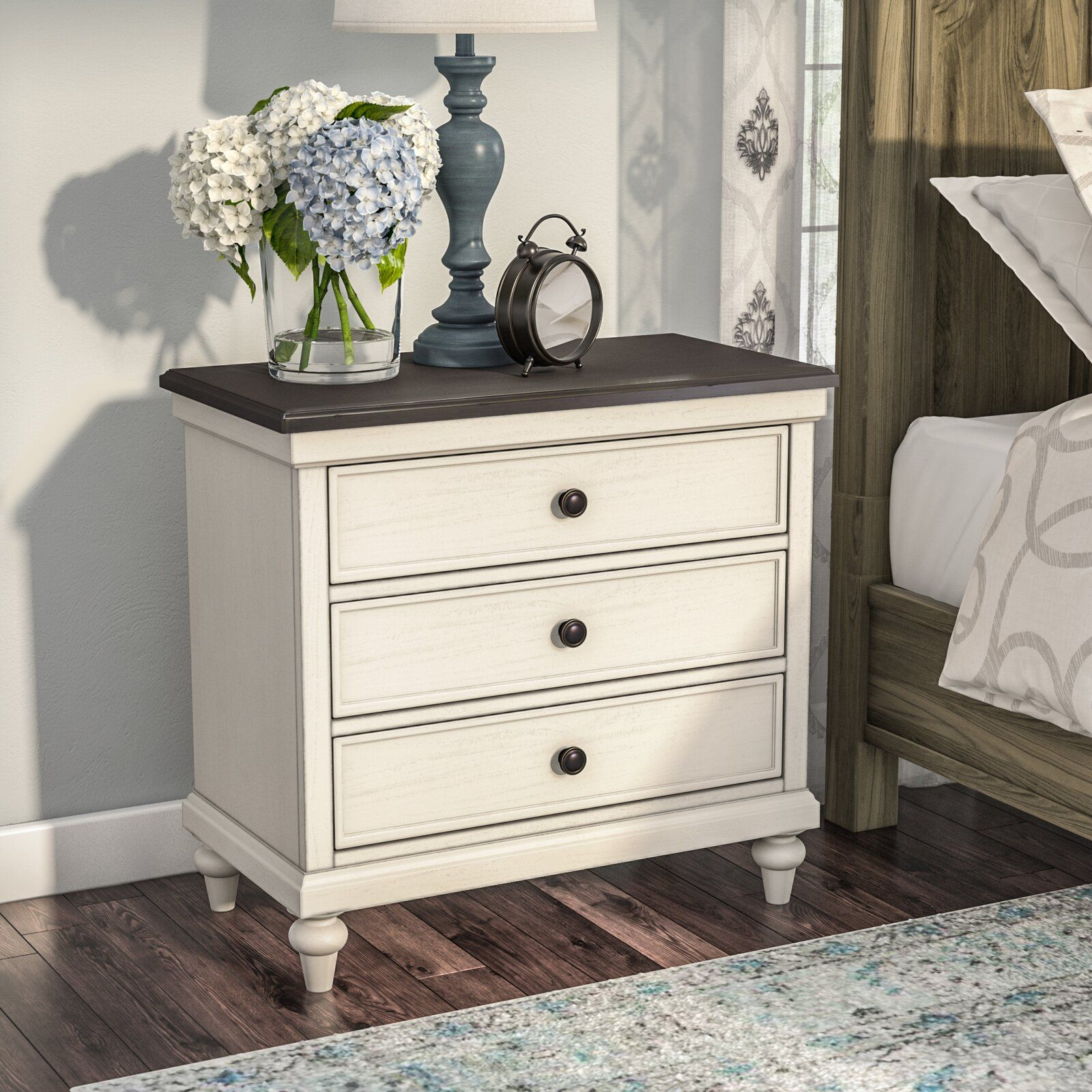 Lark Manor Ornithogale 3 Drawer Nightstand & Reviews
