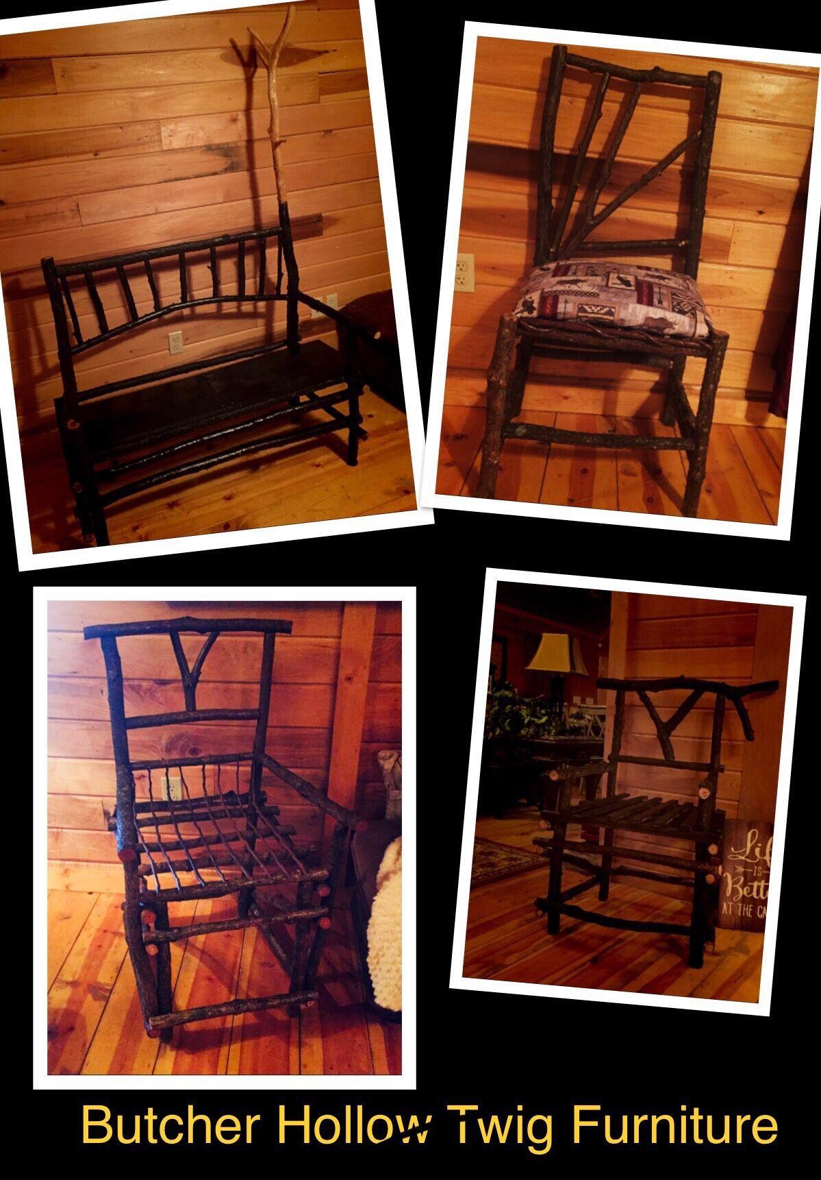 Twig Furniture  #twigfurniture Appalachian Twig furniture designed by Kentucky Coal Surveyor Jim Jack Penix #twigfurniture