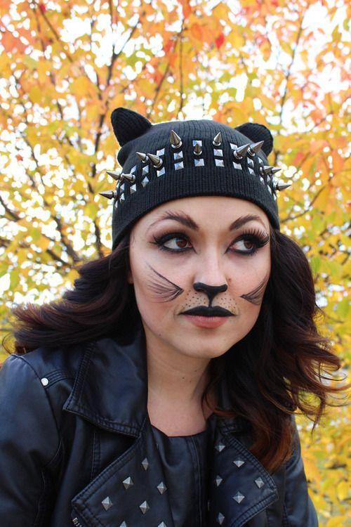cat make up tutorial  costume via Kastles Spooktackular - cat halloween makeup ideas