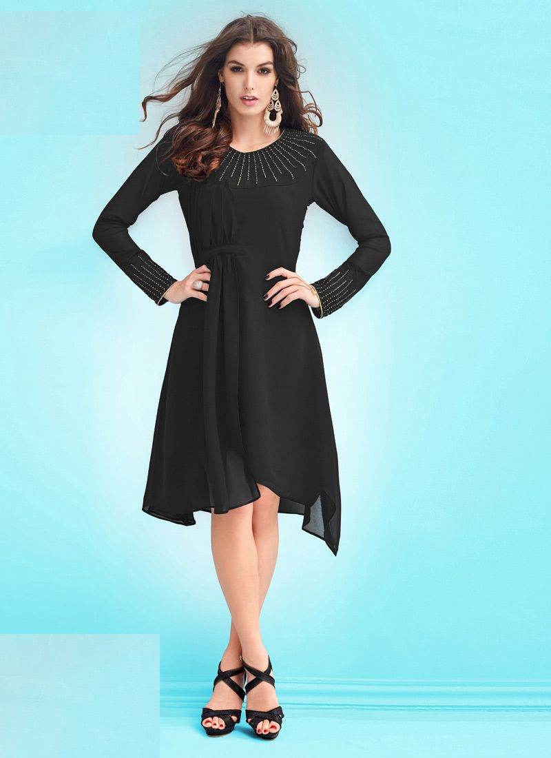 Readymade Black Georgette Kurti | Kurti, Kurtis and Ethnic fashion