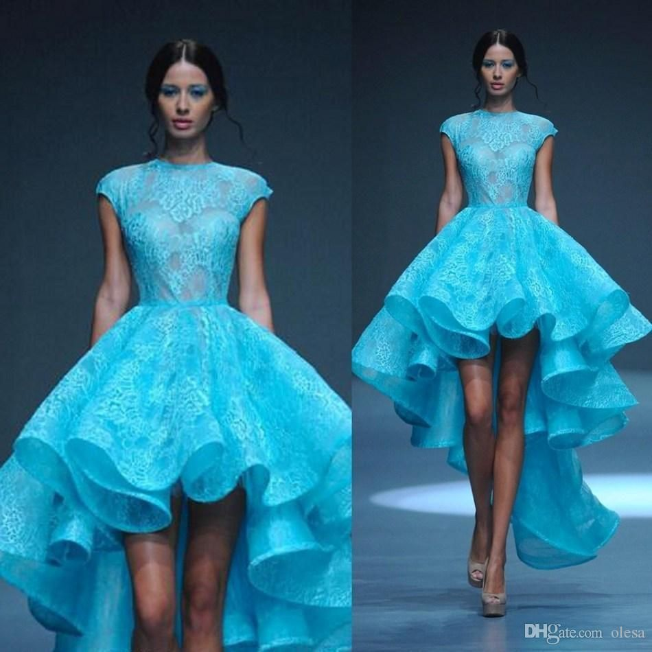 2016 Short Prom Dresses Jewel Cap Sleeves Lace Ankle Length Organza ...