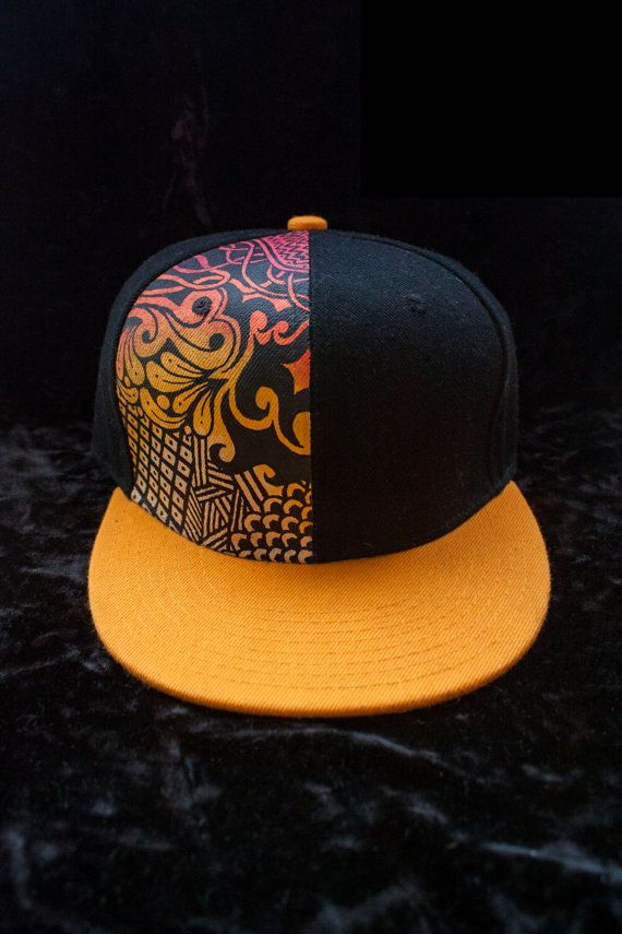 Lids Custom Hats >> Hand painted Snap Back Flat Brim Hat by michellesack on Etsy, $50.00 | snap backs | Hats, Brim ...