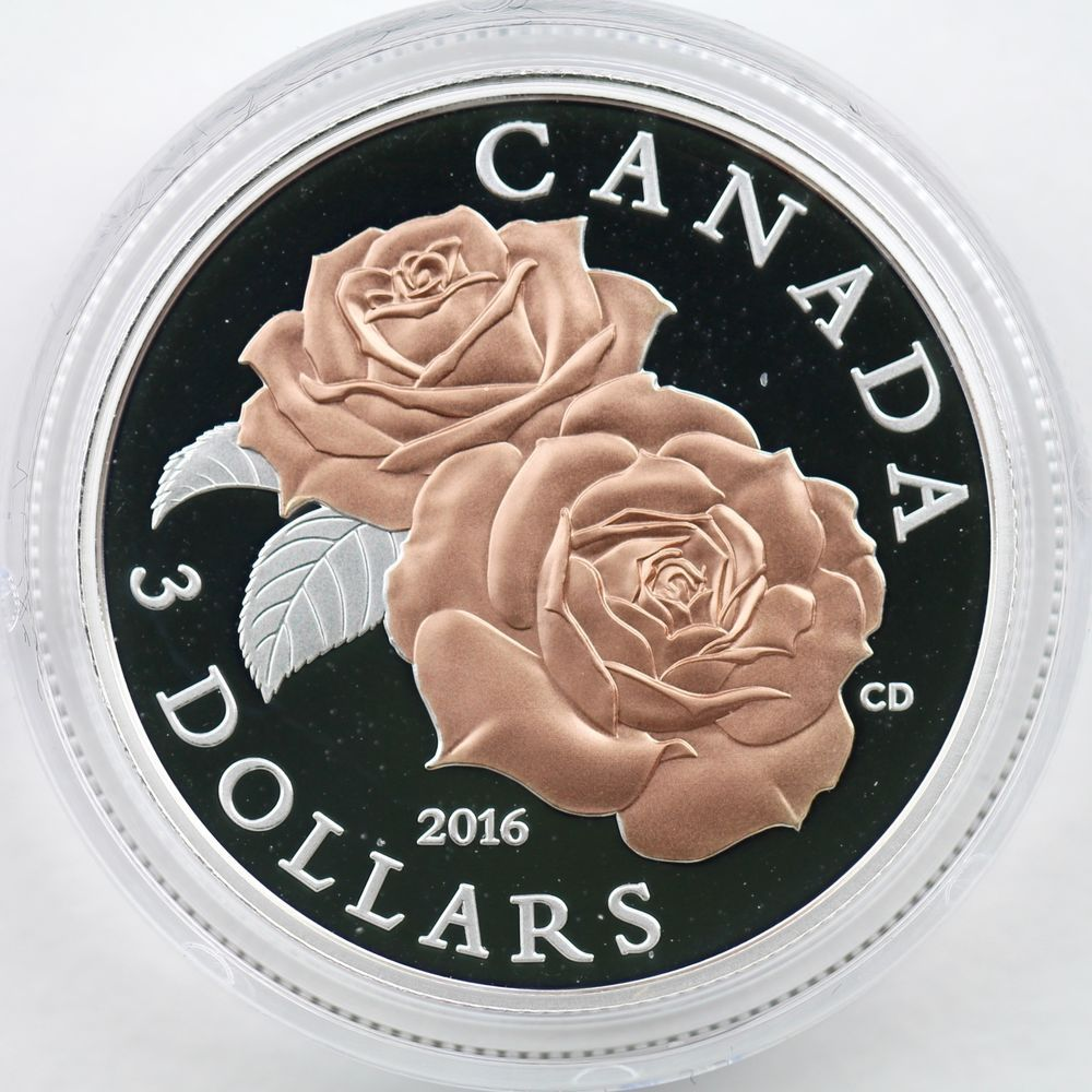 2019 Queen Elizabeth Rose Gold Blossoms $3 Pure Silver Proof Canada Coin