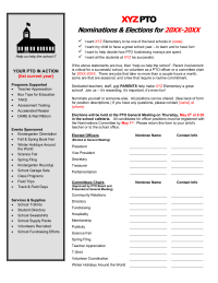 Officer Nomination Form With Job Descriptions  Pta