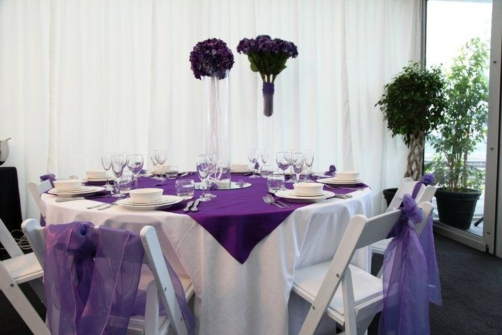 purple and white table settings