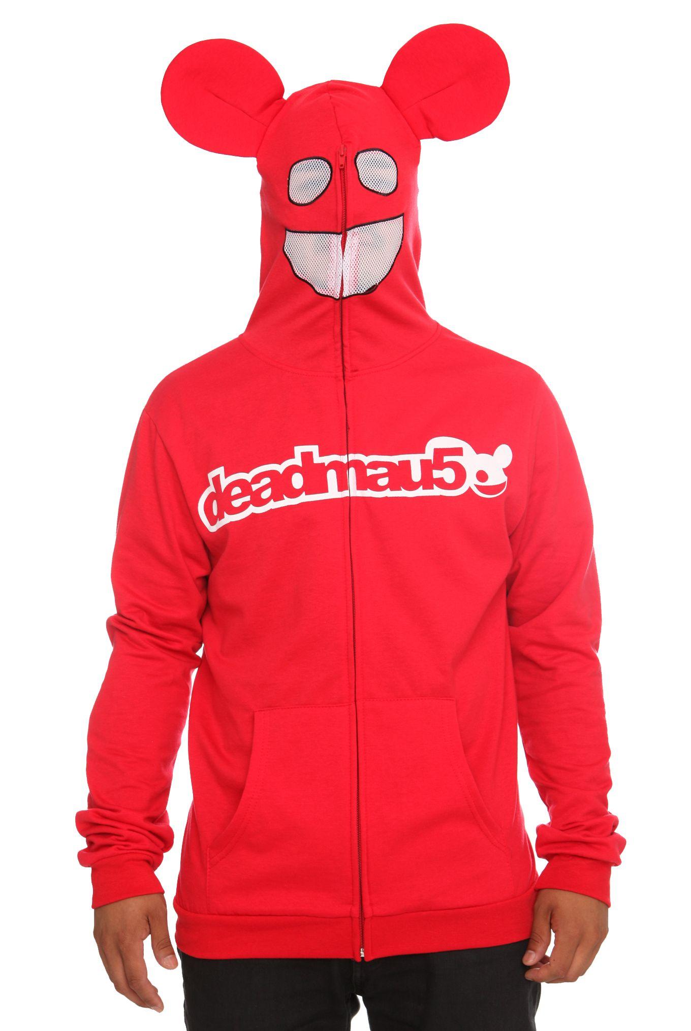 Deadmau5 Red Zip Up Hoodie Mouse Ears Mesh Mask Covers Face Mens Size S Deadmau5 Red Zip Up Hoodie Mouse Ears Hoodies Full Zip Hoodie Hoodie Halloween Costumes