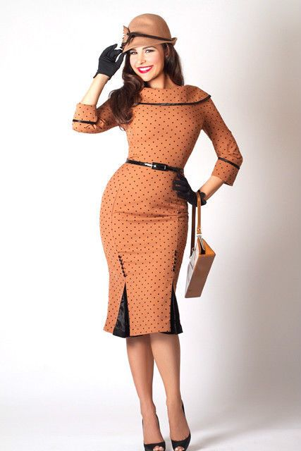 BETTIE PAGE ICED COFFEE PENCIL DRESS 1940s 1950 s WIGGLE PIN UP POLKA DOTS  BROWN  f61b2a550