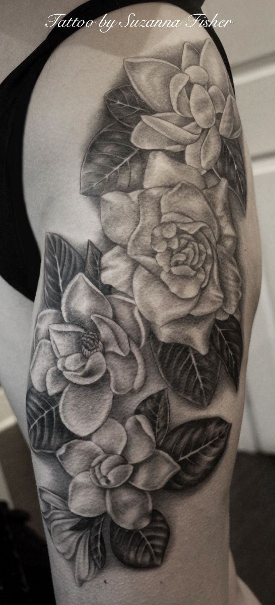 Black and grey flower tattoo by Suzanna Fisher, Dark Age Tattoo, Seattle Washington