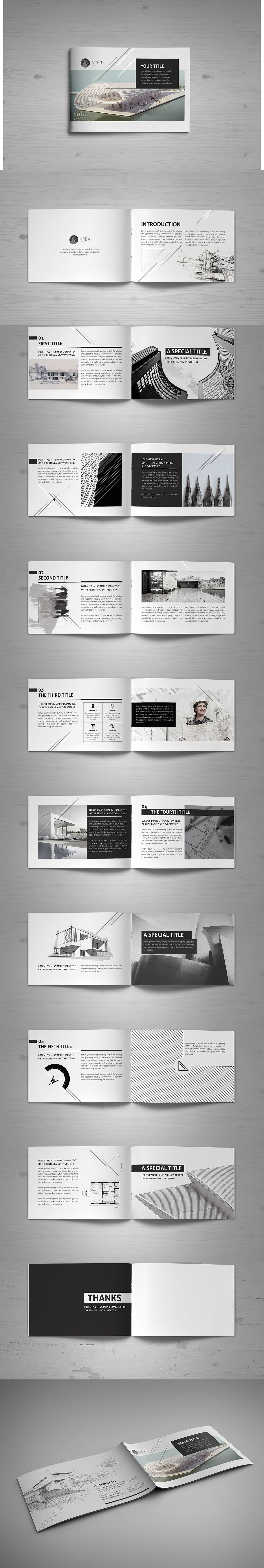 Minimal Modern Black & White Architecture Brochure Template InDesign ...