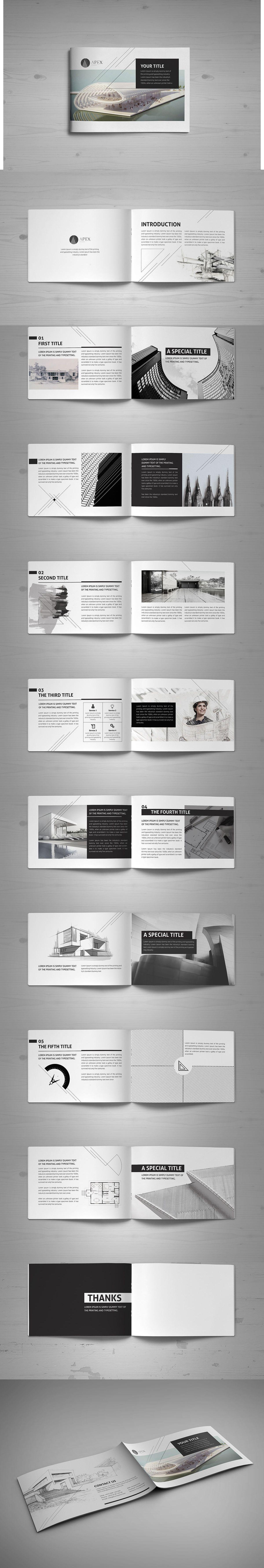 minimal modern black white architecture brochure template indesign indd brochure templates. Black Bedroom Furniture Sets. Home Design Ideas