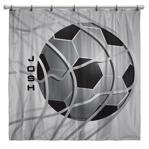 Boys Soccer Shower Curtain, Great Way To Let Him Show Off His Game!  Monogrammed