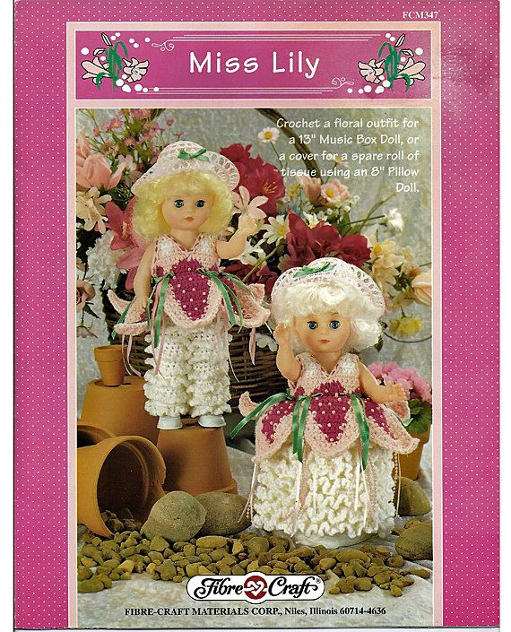 """Miss Lily Fibre Craft Floral Outfit for 13/"""" or 8/"""" Pillow Doll Crochet PATTERN"""