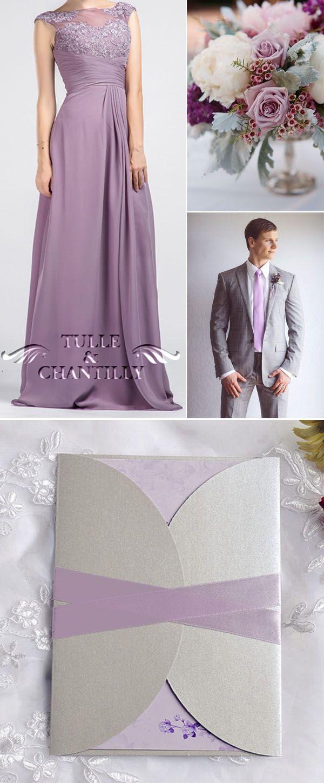 e4e611e3dc75d soft lavender and grey wedding invitations and lavender vintage bridesmaid  dresses Vintage Purple Wedding, Purple