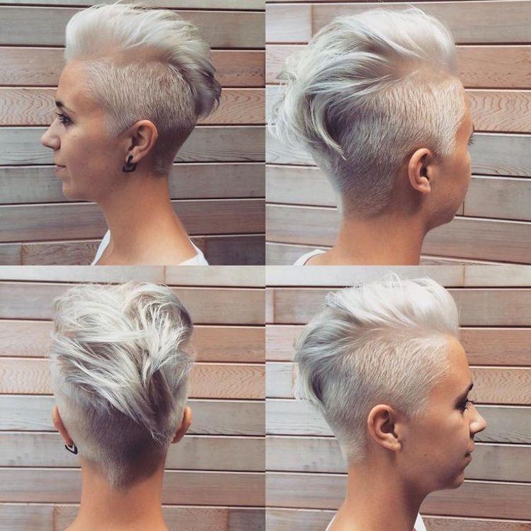 Irokesenschnitt Fur Frauen Kurz Platinblond Kurzhaarschnitt Hairstyles Haarschnitt Kurzhaarschnitt Haarschnitt Kurz