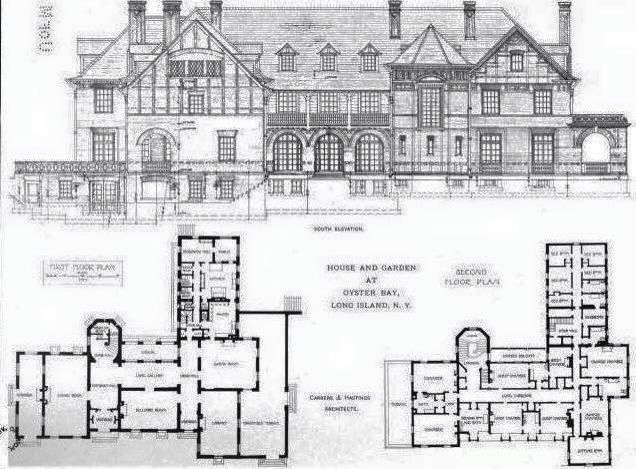 Ontare James Blair House 1st And 2nd Floors Plus Rear Elevation Vintage House Plans Architectural Floor Plans Luxury House Plans