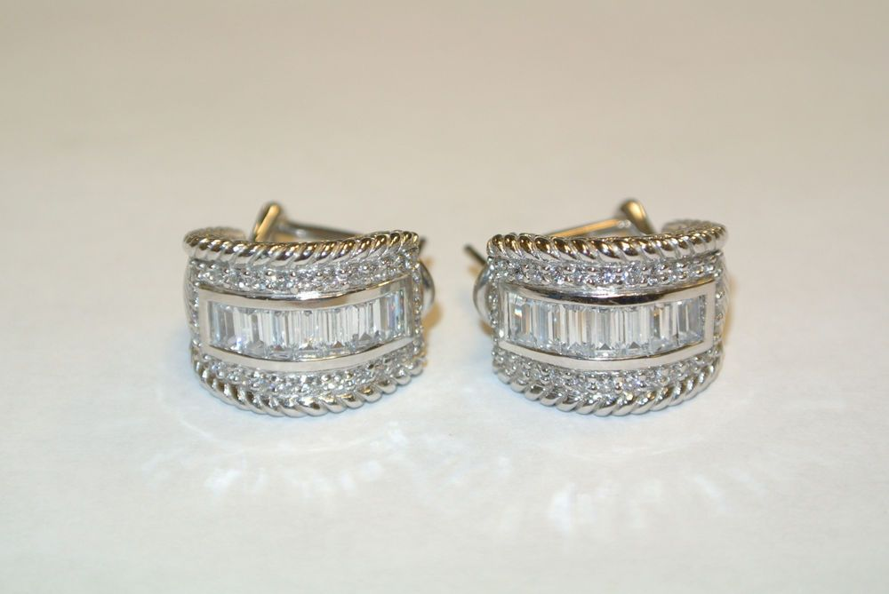 Sterling Judith Ripka Omega Back Hoop Earrings W/ Baguette & Round CZ Stones(A-4 in Jewelry & Watches | eBay