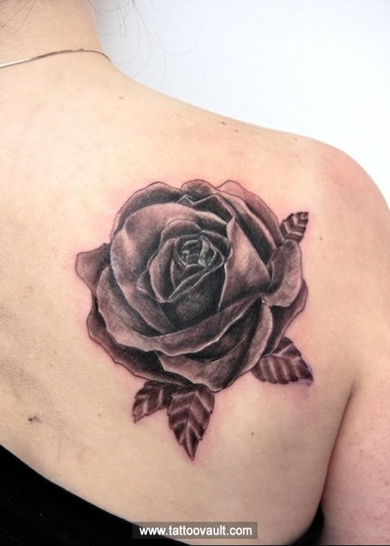 Black rose with leaf tattoo idea on back tattoo idea 39 s for Rose and leaf tattoos