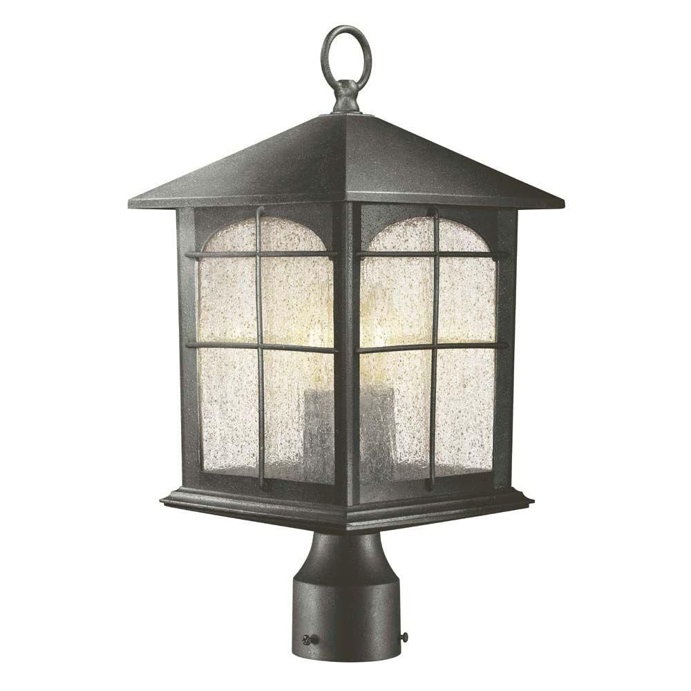 Hampton bay light aged iron outdoor post lantern in