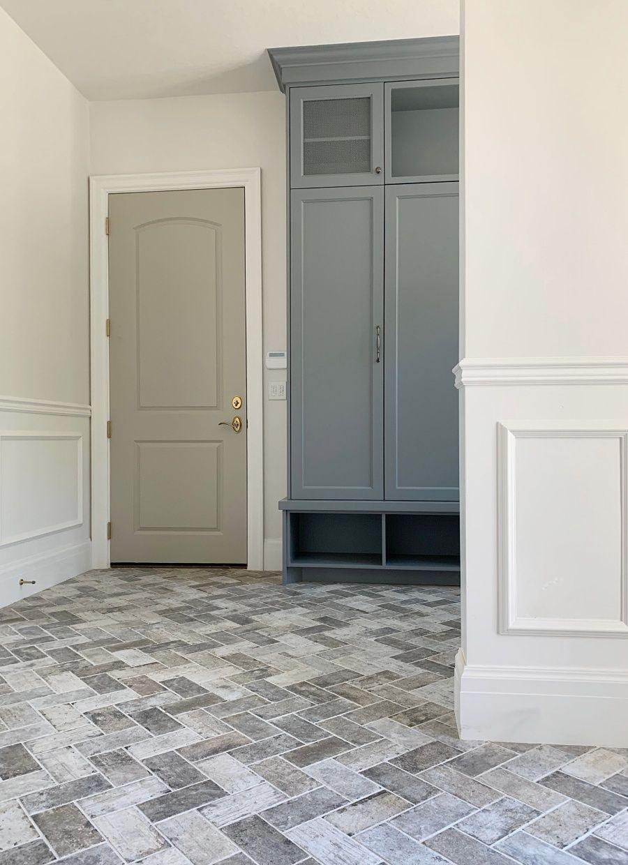 Laundry Mudroom With Herringbone Brick Floor Brick Flooring Brick Tile Floor Flooring