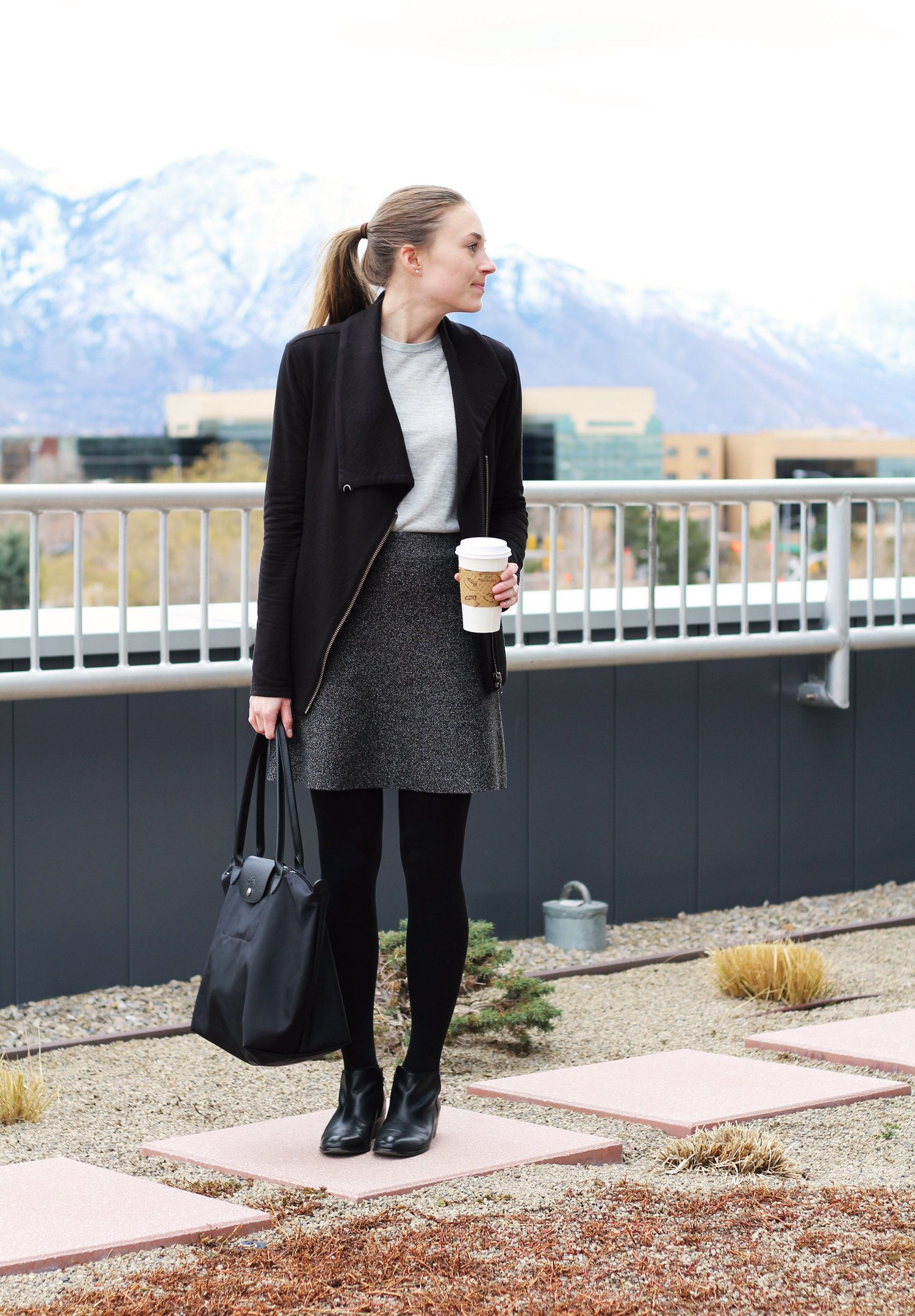 08a1d97244 Academic conference outfit with Longchamp Le Pliage Neo tote bag ...