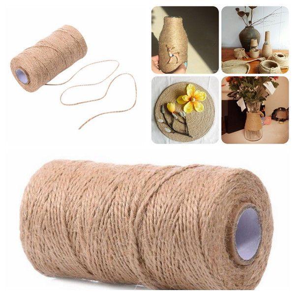 100M Natural Hemp Linen Cord Twisted Burlap Jute Twine Ropes Craft Decoration