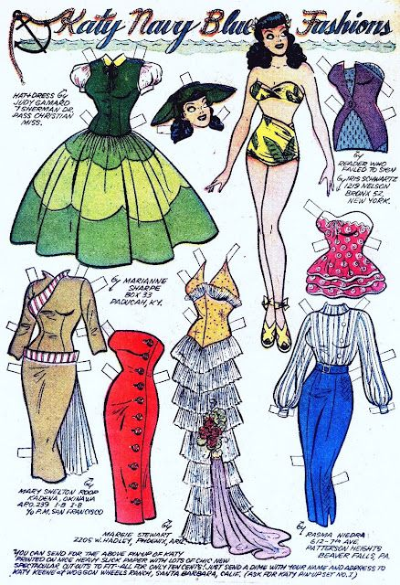 Katy Navy Blue Fashions* 1500 free paper dolls at Arielle Gabriels International Paper Doll Society also free paper dolls at The China Adventures of Arielle Gabriel *