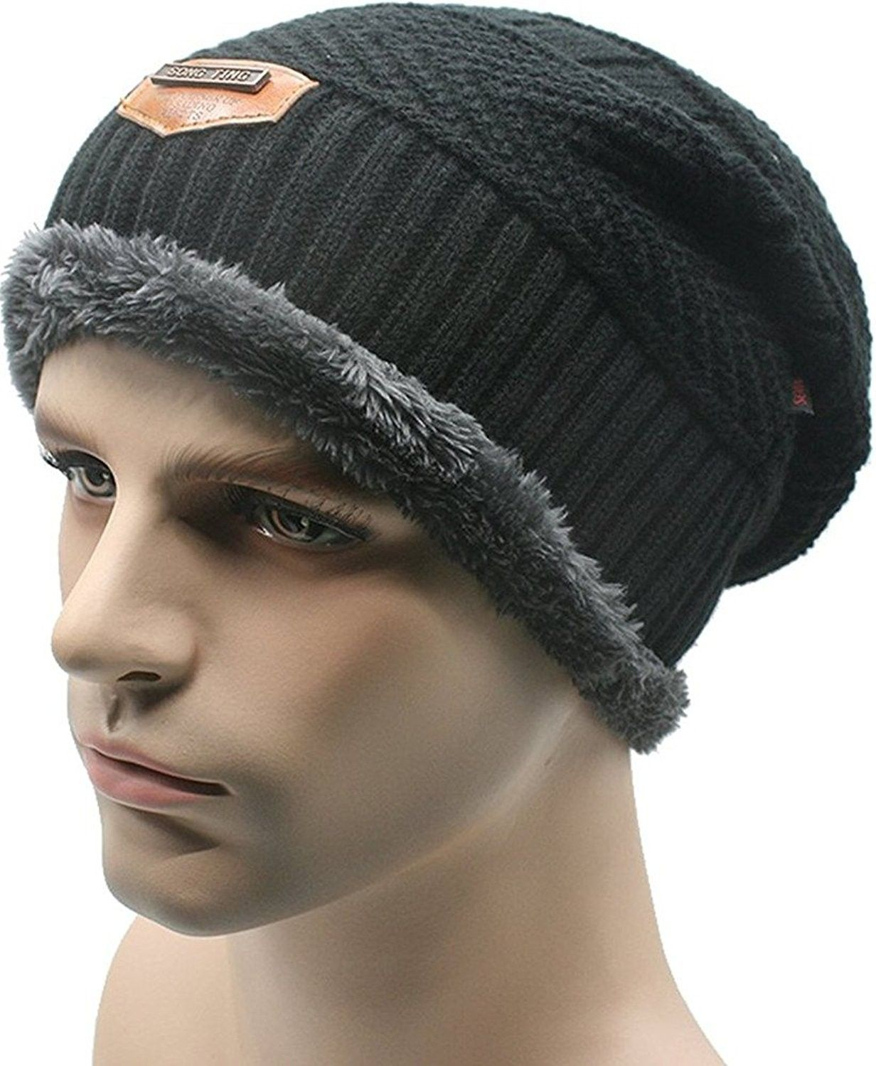00a693f9e2e Mens Soft Lined Thick Skull Cap Unisex Warm Winter Beanies Hat ...