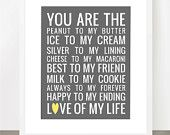 You Are The Peanut to My Butter - FULLY Customizable Colors and Text 8x10 Print - Others Sizes Available