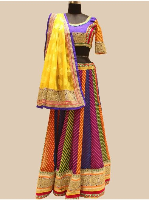 Buy Multi Color Georgette Lehenga Choli With Pearl Work Designer Designer Collection Online In India - saree.com