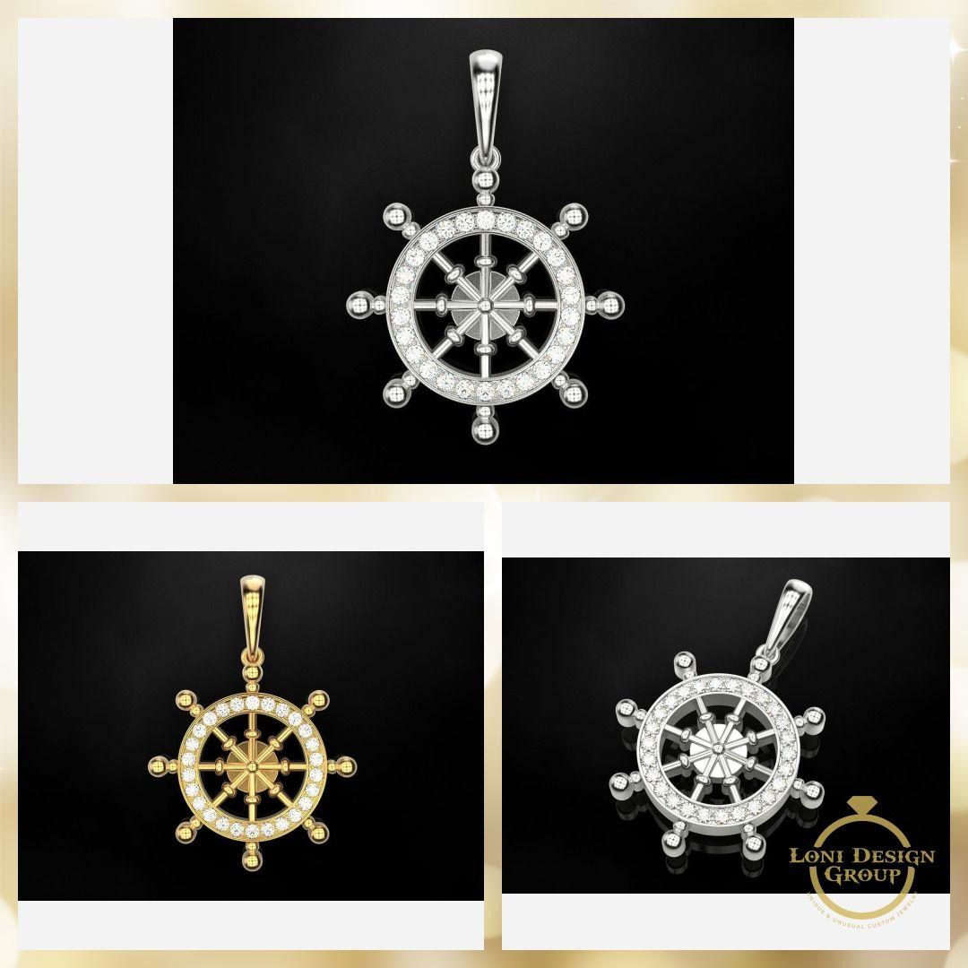 Helmsman Wheel Pendant From $857 00 Available in 10k/14k/18k