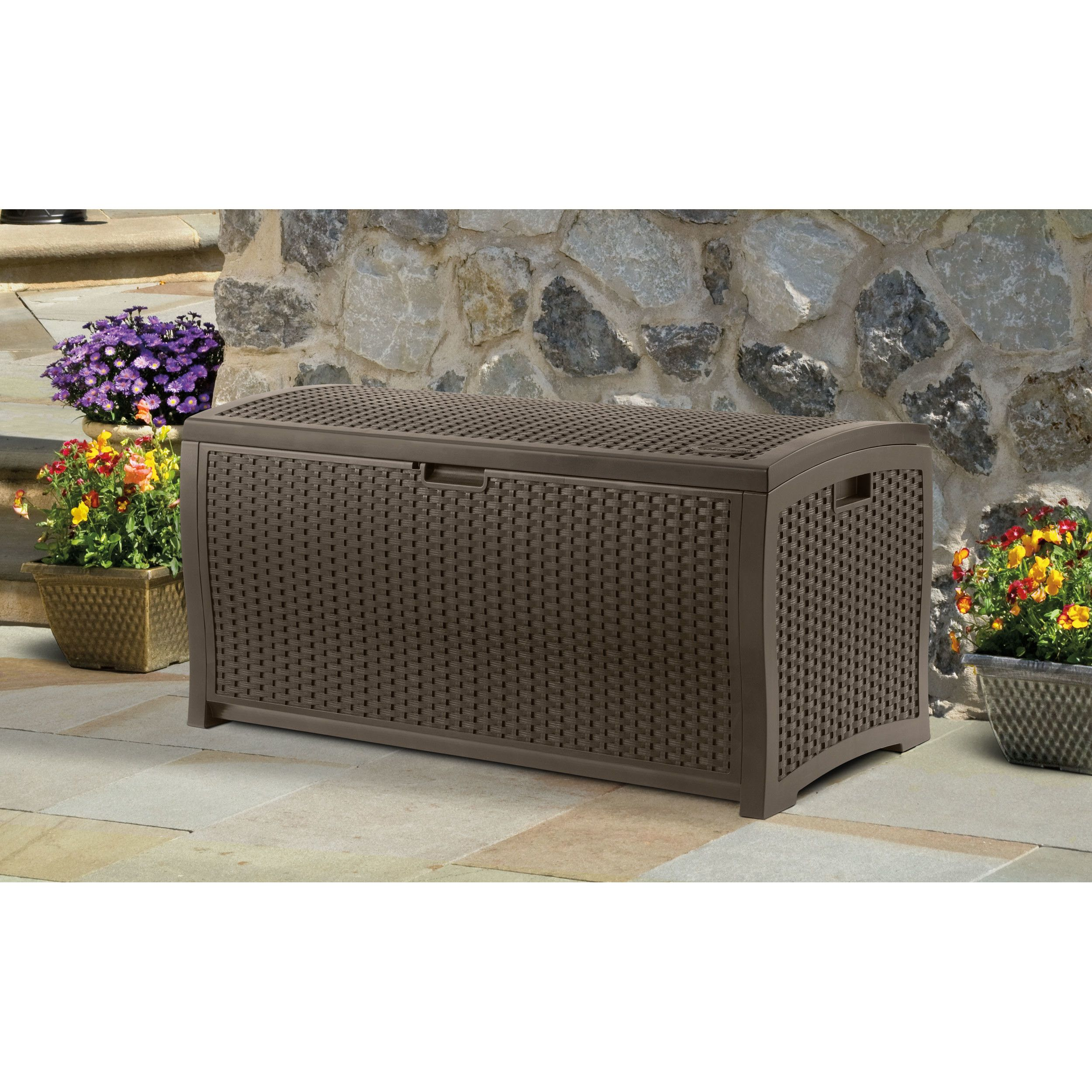 Darby Home Co Halcomb 99 Gallon Deck Box Wicker Deck Box Deck Box Storage Deck Box
