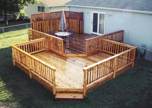 16 X 20 Upper Deck W 16 X 16 Lower Deck At Menards Deck Projects Deck Deck Design