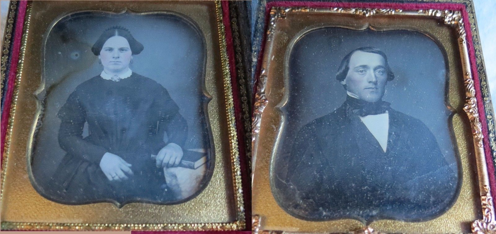 Daguerreotype Pr Mother-of-Pearl MOP Inlaid Double Case Casket Vtg Old Antique | eBay