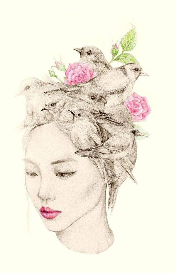 The girl and the birds, drawings by OkArt | Drawings, Bird and Girls