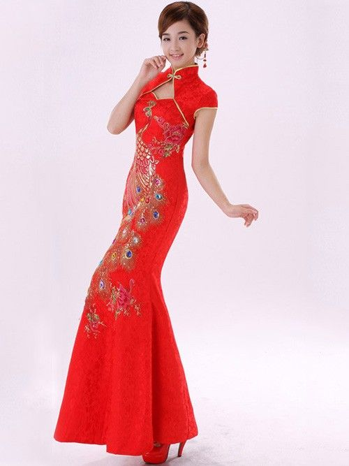 red-ankle-lenght-phoenix-cheongsam-qipao-chinese-wedding-dress ...