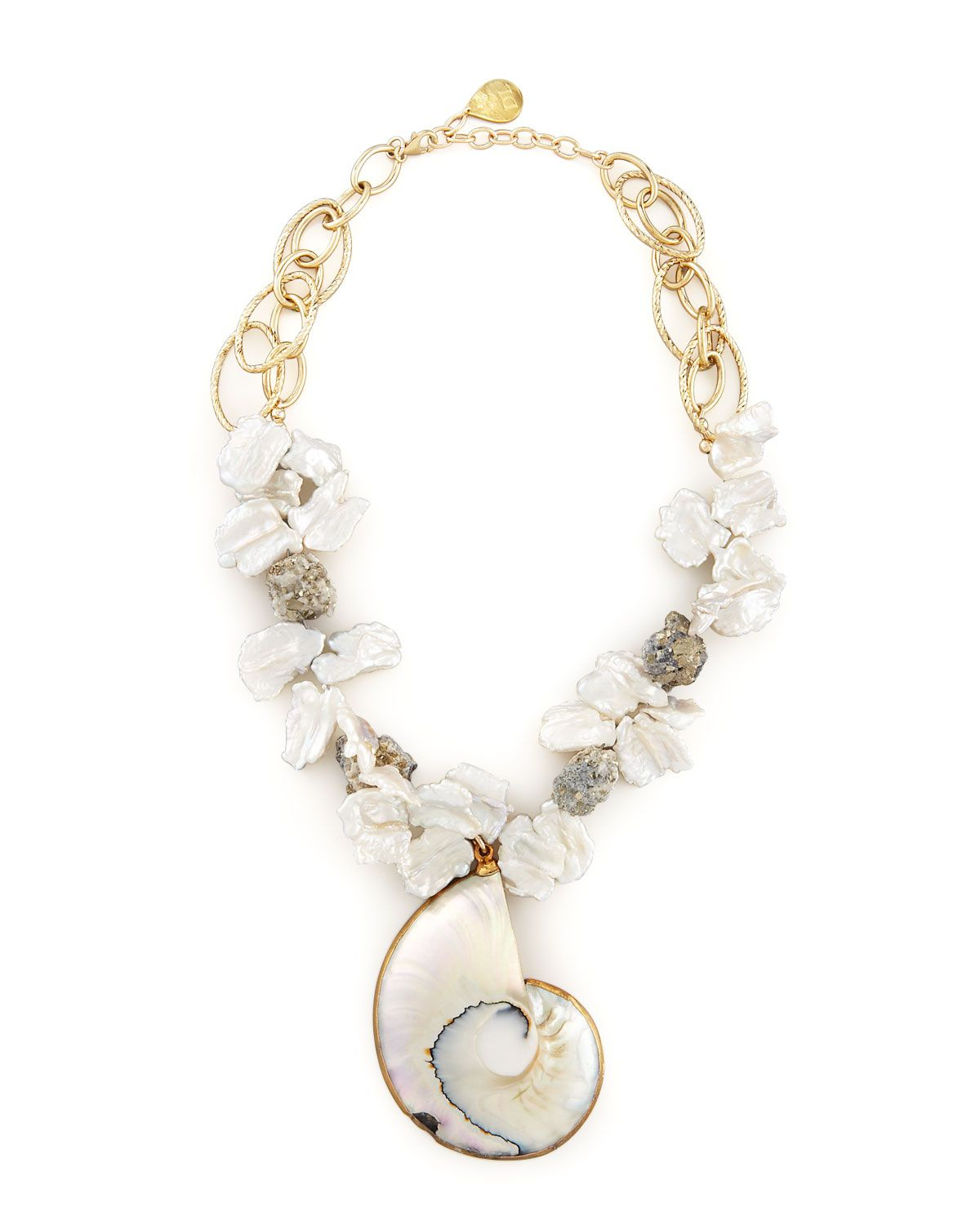 Devon Leigh Round Shell Beaded Necklace 4i0pqx