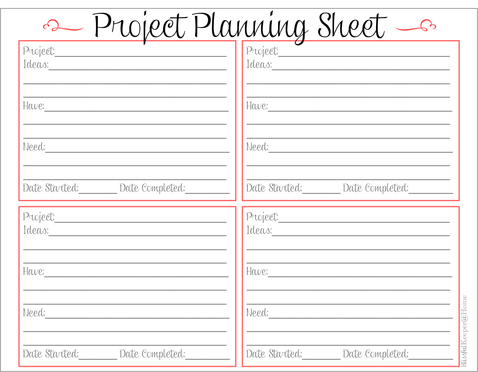 Blissful Keeper At Home Free Project Planning Sheet