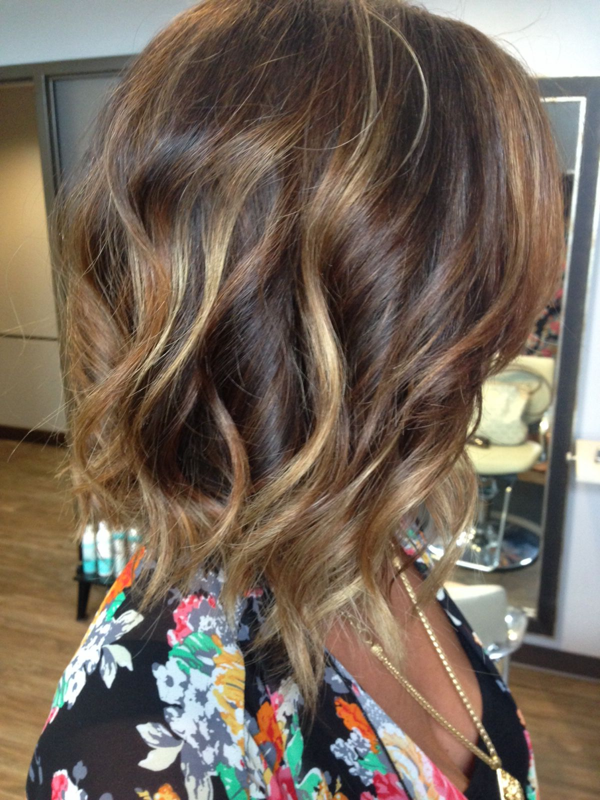Subtle ombré with bayalage highlights on a long bob love hair