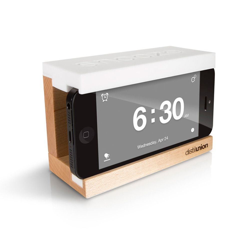 Perfect Snooze Wood IPhone Alarm Dock Stand For IPhone With Clock App Amazing Design