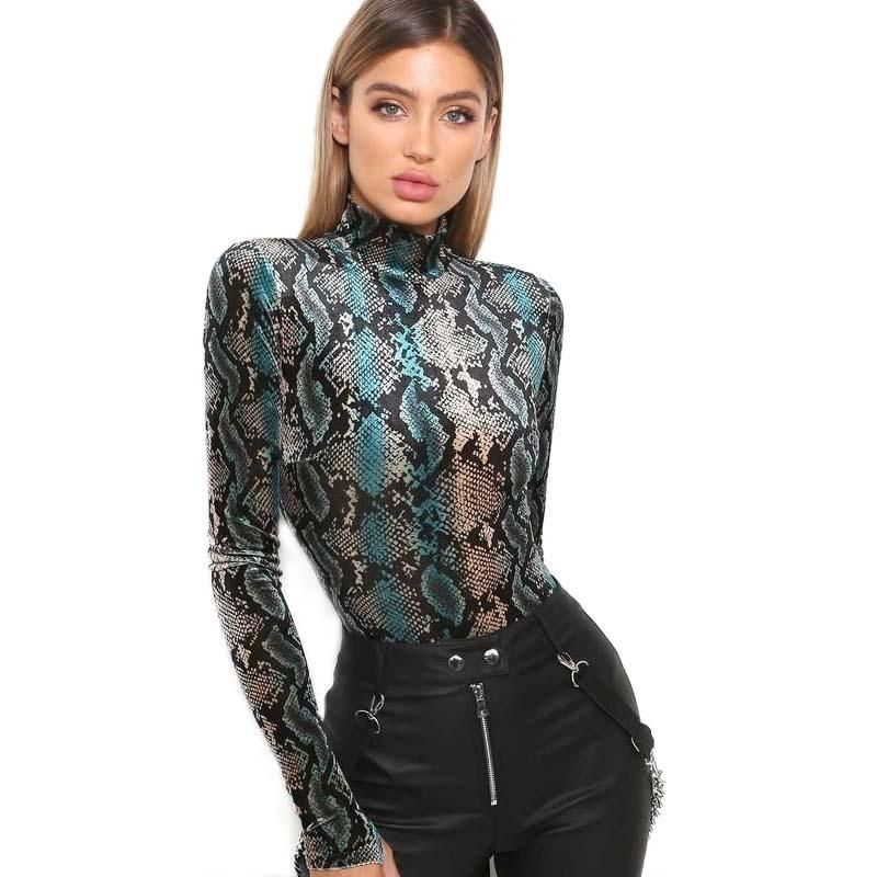 aa5ffe4b81ef0f This sexy fitted bodysuit features a snake skin print, high neckline, and  cut-out-thumb sleeves. It looks great on its own for a night out or under a  fitted ...