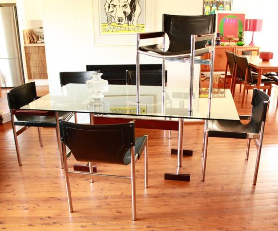 Mid Century Glass Top Table Chrome Base With 6 Black Leather Sling Upholstered Matching Chairs By Fram Glass Top Table Glass Top Dining Table Mid Century Glass