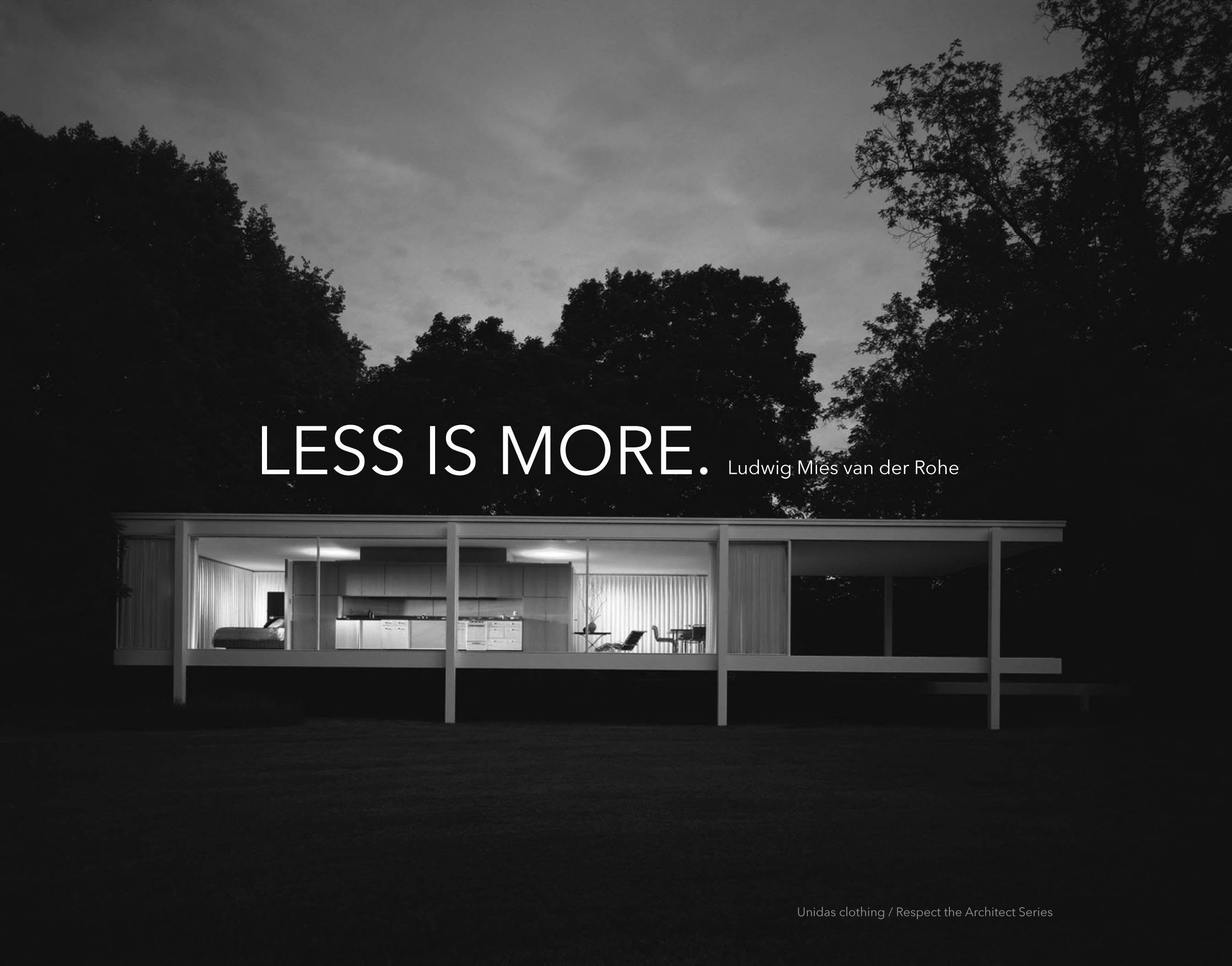 less is more mies van der rohe a r c h i t e c t u r e architektur design. Black Bedroom Furniture Sets. Home Design Ideas